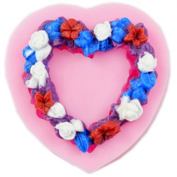 Heart Shape Garland Wreath Silicone Fondant Mold Gum Paste Mould