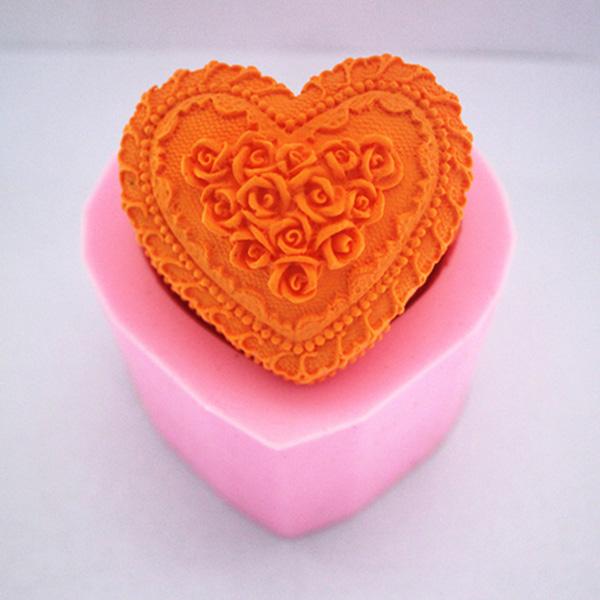 Hjärtformade Kärlek Rose Fondant Tårta Utstickare Tvål Choklad Form Kök