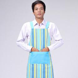 Küche kochend Arbeits blauer Streifen Leinwand Schürzen für Männer