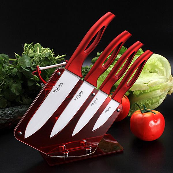 Køkken Rød Keramisk Kniv Set med Skrællekniv Og Akryl Kniv Holder Stand Køkken