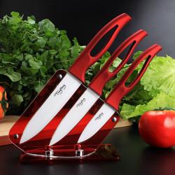 Kök Vit Blad Keramiska Knivset Matlagning Verktyg Röda Handtaget