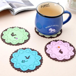 Little Animal Anti-hot Silicon Cup Mat - Pink/Green/Blue/Beige