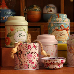 Little Flower Pastoral Stil Mini Tea & Coffee Zinn Aufbewahrungsbox