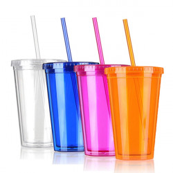 Milk Smoothie Iced Coffee Juice Plastic Drinks Cup With Straw