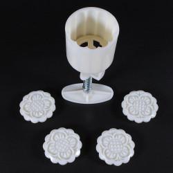 Månen Tårta Dekoration Form Blommor Round 4 Frimärken DIY Tool