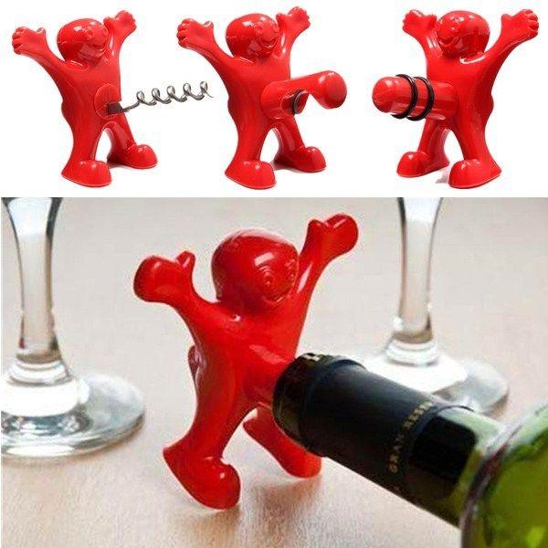 Novelty Kök Bar Red Fun Happy Man Wine Beer Öppnare Stopper Kök