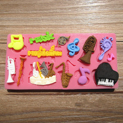 Orchestral Instruments Silicone Fondant Mold Polymer Clay Mould