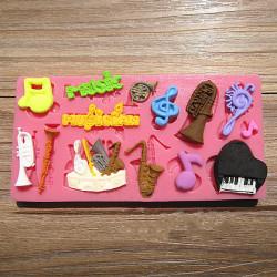 Orchesterinstrumente Silikon Fondantform Polymer Clay Mould