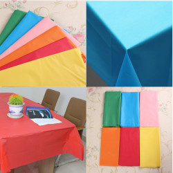 Pure Color Rectangular Disposable PE Plastic Table Cover Tablecloth