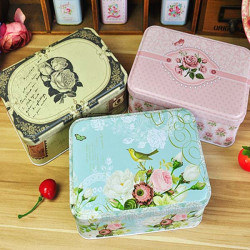 Rectangle Garden Rose Bird Tea Box Gift Jewelry Clamshell Box