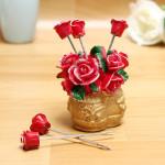 Rose Blomma Basket Frukt Gafflar Set Snack Sked Husgeråd Kök