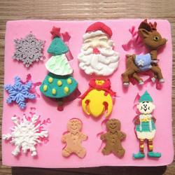 Santa Claus Julgrans Snöflingor Chokladkaka Form
