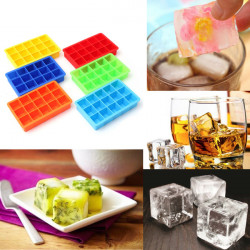 Silikon 15 quadratischer Würfel Eis Behälter Form Pudding Gelee Form Partei Stab
