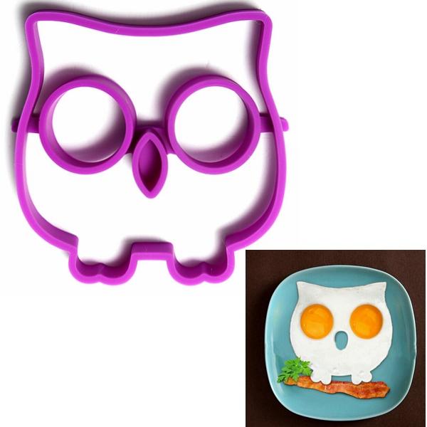 Silikon Owl Formad Stekt Ägg Funny Side Up Ägg Ring Form Kök