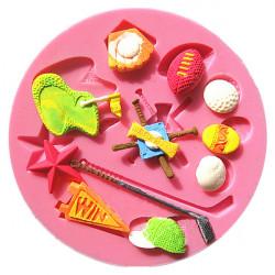 Softball Golf Baseball Silicone Fondant Mold Polymer Clay Mould