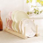 Solid Wood Plate Dish Drain Rack Bestikk Hylle Kjøkken