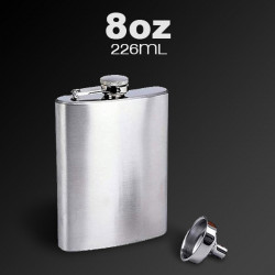 Stainless Steel Pocket Whisky Liquor 8 OZ Hip Flask With Funnel