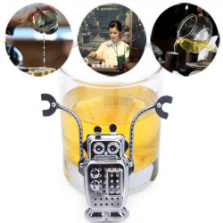 Edelstahl Robot Tea Leaf Sieb Tee Filter Tools mit Tablett