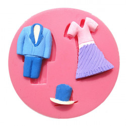 Anzug, Kleid, Hut Silikon Fondantform Schokolade Polymer Clay Mould