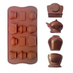 Tea Kopp Clock Tekanna Silikon Tårta Utstickare Choklad Form Bakning