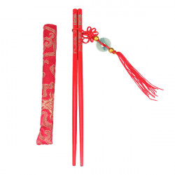 Asiatisch Holz Red Festliche Essstäbchen mit Pouch