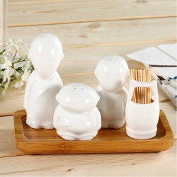 White Ceramic Three Monks Caster Spice Jar Seasoning Bottle Shaker