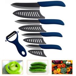 Køkkenet Sort Blade Keramisk Kniv Set Blå Ceramic Skrællekniv