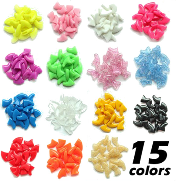 20pcs Soft Cat Pet Nail Caps Claw Control + Adhesive Glue Size XS Pet Supplies