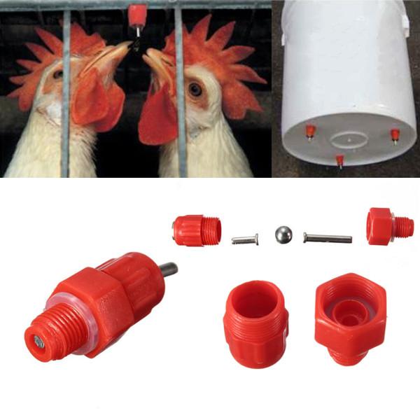 25 Stück Geflügel, Huhn, Ente Schraube Wasser Brustwarzen und Ball Trinker Haustierzubehör