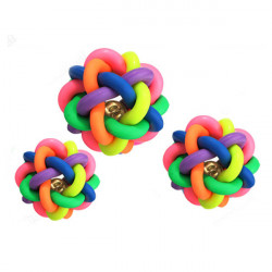 7CM Cute dog Pet Toy Woven Rainbow Color Rubber Bell Ball