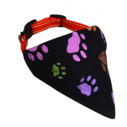 Adjustable Black Print Pet Collar Triangular Scarf Bandana