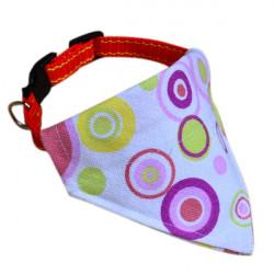 Adjustable White Circle Pet Collar Triangular Scarf Bandana