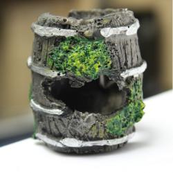 Aquarium Miniature Resin Barrel Ornament Fish Tank Cave Landscaping