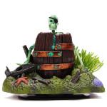 Barrel With Skeleton Action-Air Aquarium Ornament Pet Supplies