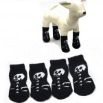 Black Skeleton Patten Flat Knitting Cotton Pet Rubber-Pads Socks Pet Supplies
