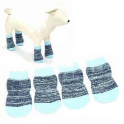 Blaue Farbe Baumwollknit Anti Rutsch Breathable Haustier Socken