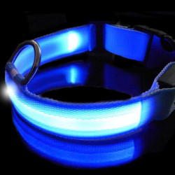 Blue LED Pet Collar Night Safety Dog Flashing Collar