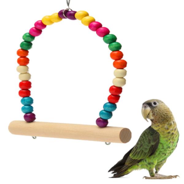 Bunte Swing Vogel Spielzeug Papageien Vogel Standplatz Zahnstange Pole Holz Haustierzubehör