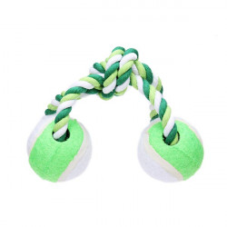 Cotton Rope with Dual Tennis Ball Toy for Pets Dogs Cats