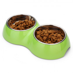 DB-04 Pet Double Bowl Pure Colors Stainless Steel No-slip Dog Bowl