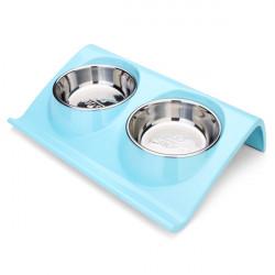 DB 66 Hund Katze Z Form Doppel Edelstahl Nahrungsmittelschüssel der Haustier Zufuhr