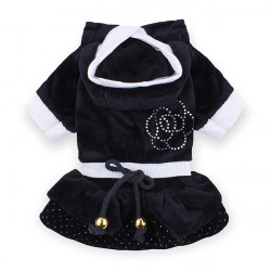 Dog Cat Camellia Cake Dress Velvet Pet Clothes