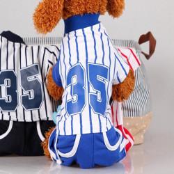 Hunde Haustiere Cotton Stripes Sport Klage T Shirt Hosen Overall