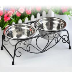 Dobbelt Rustfrit Stål Kæledyr Kat Hund Puppy Vand Mad Feeder Dish Bowl
