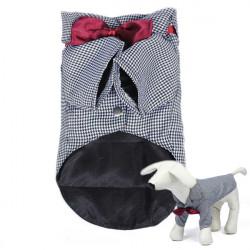 Mode Söt Plaid Husdjur Hund Suit Doggy Kläder