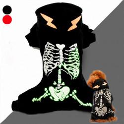 Glow in the Dark Skelett Muster Hund Overall Mantel
