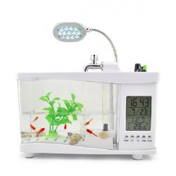 LCD-display Desktop LED Clock Lampa Ljus Digital Kalender Akvarium