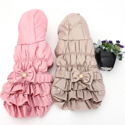L Pet Dog Puppy Winter Cotton Bow Hoodie Jacket Coat Clothes Warm