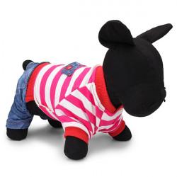 Loli Red Stripe Jeans Hosen Overall Pet Frühlingskleidung