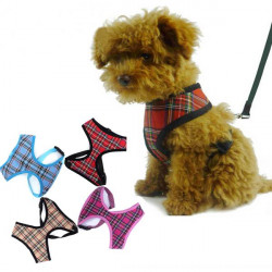 Lovely Adjustable Soft Tartan Mesh Puppy Dog Harness Air Mesh Dog Harness